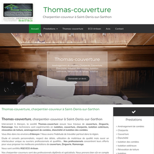 Thomas-couverture Saint-Denis-sur-Sarthon, couverture, charpente, isolation des combles, isolation extérieure, rénovation de toiture, zinguerie et gouttières